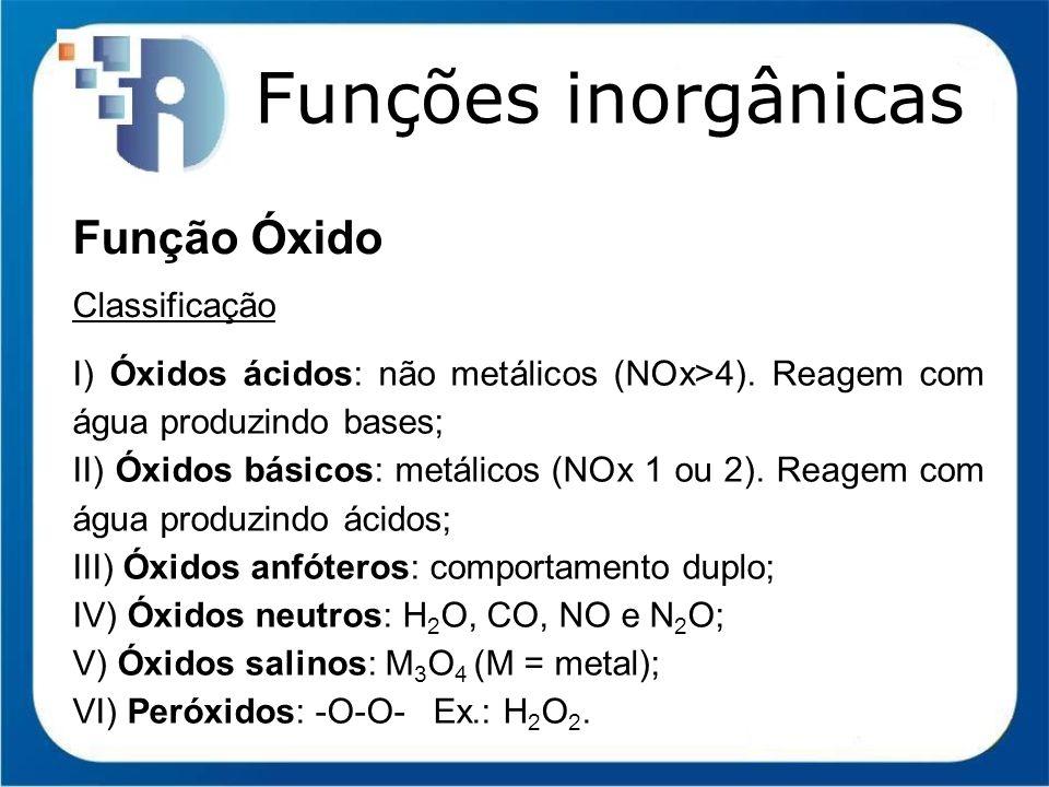 Funções inorgânicas Função Óxido Classificação