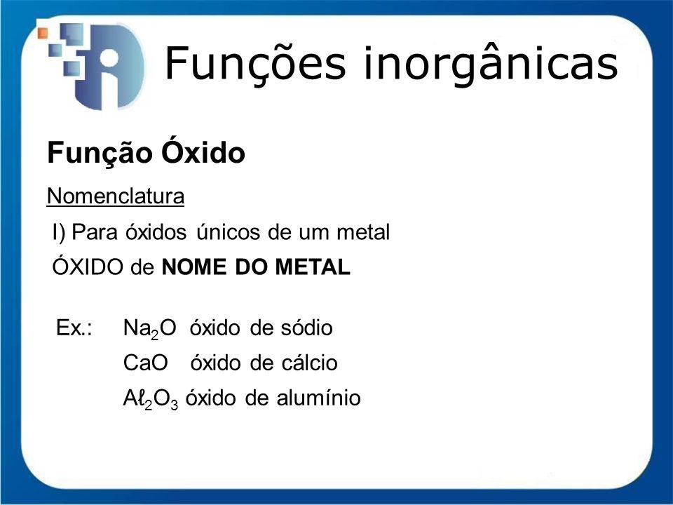 Funções inorgânicas Função Óxido Nomenclatura