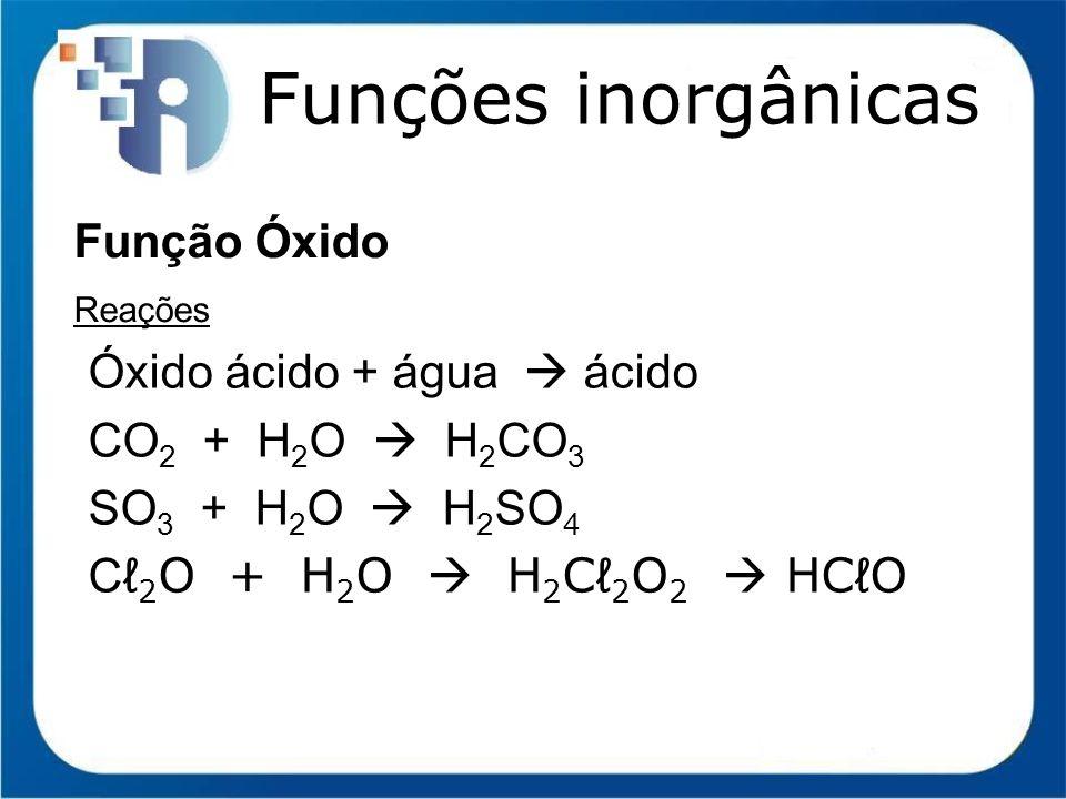 Funções inorgânicas Função Óxido Óxido ácido + água  ácido