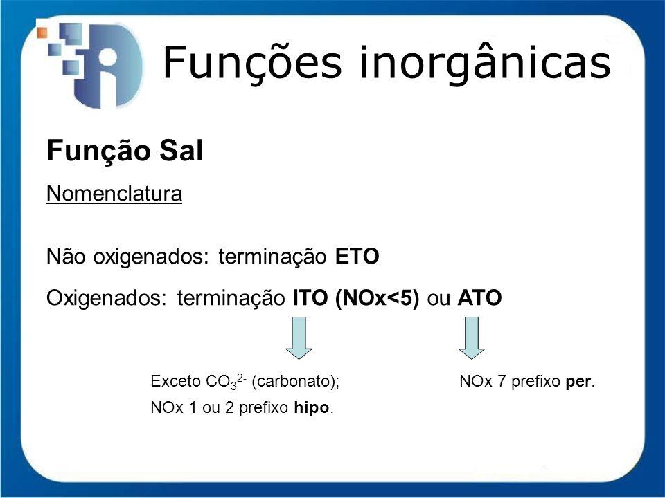 Funções inorgânicas Função Sal Nomenclatura