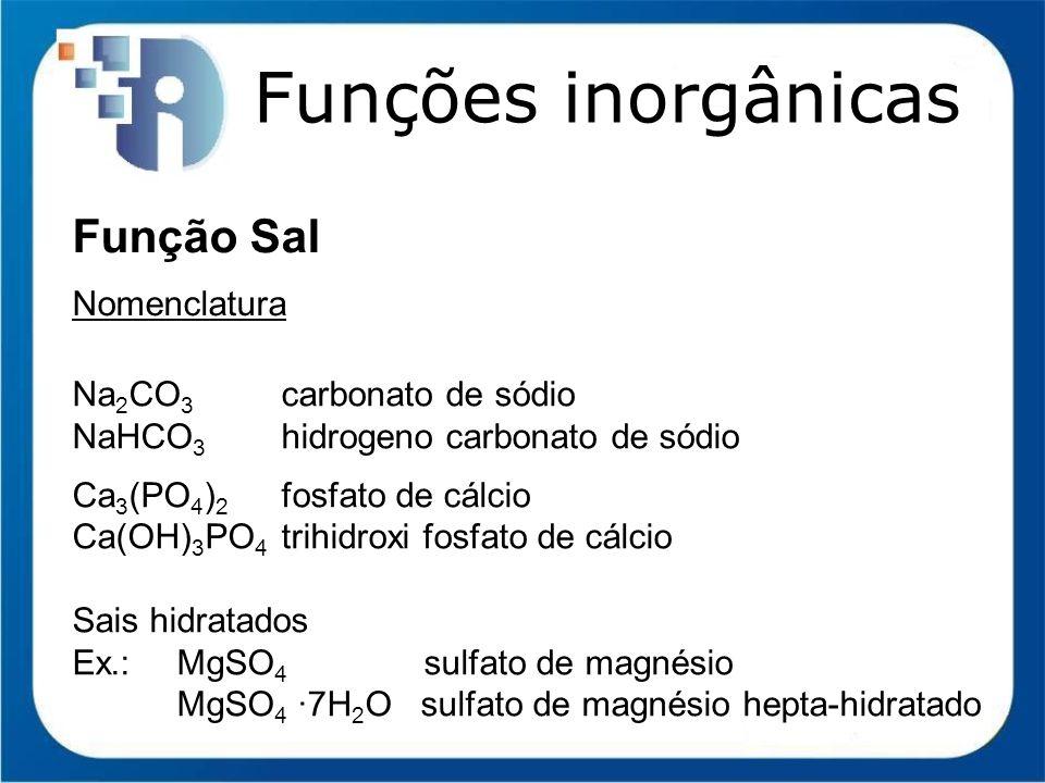 Funções inorgânicas Função Sal Nomenclatura Na2CO3 carbonato de sódio
