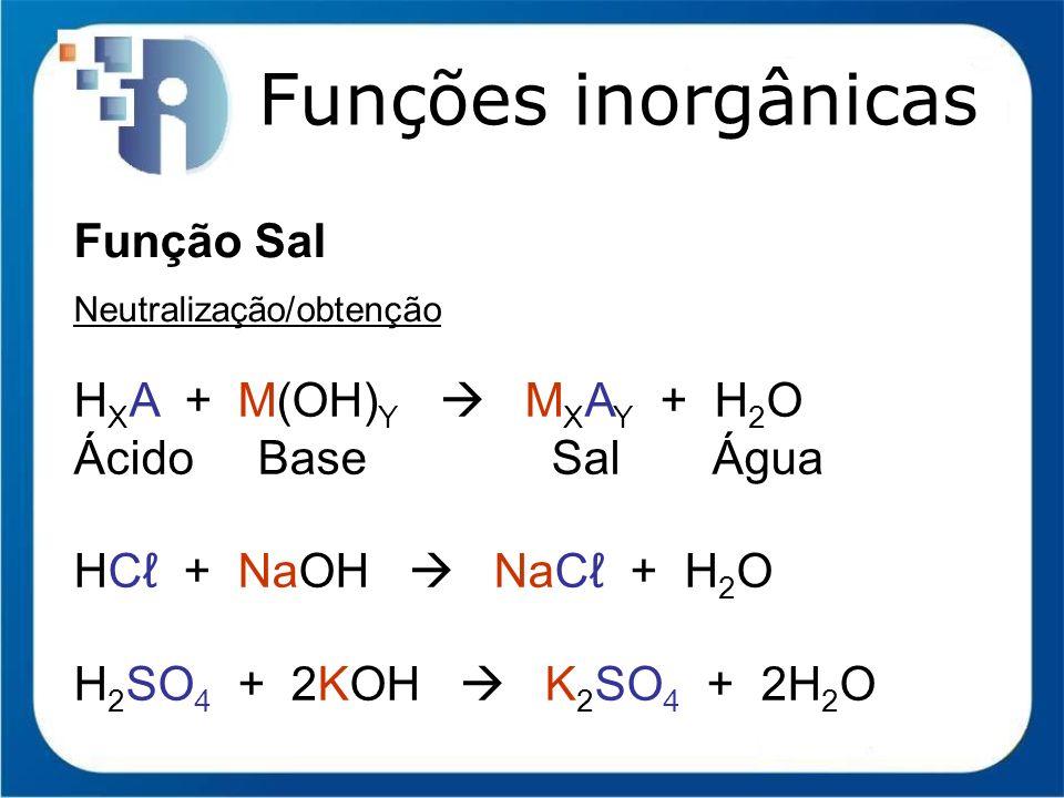 Funções inorgânicas Função Sal HXA + M(OH)Y  MXAY + H2O