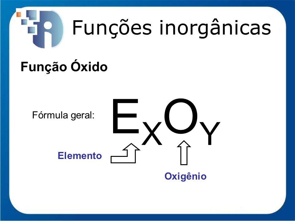 Funções inorgânicas Função Óxido EXOY Fórmula geral: Elemento Oxigênio