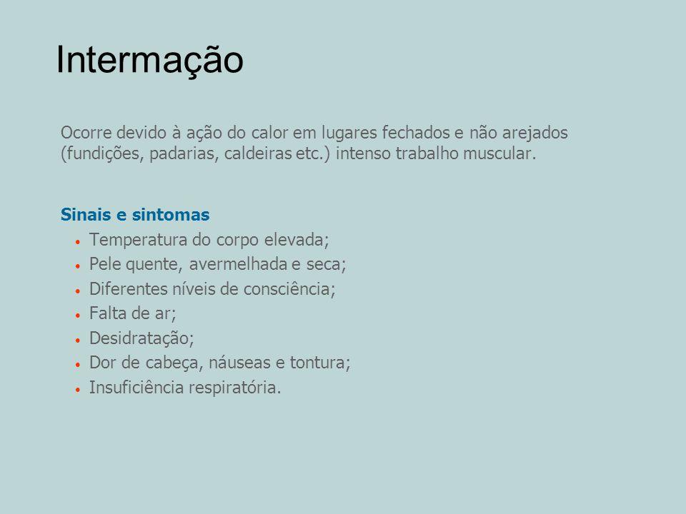 Intermação Ocorre devido à ação do calor em lugares fechados e não arejados (fundições, padarias, caldeiras etc.) intenso trabalho muscular.