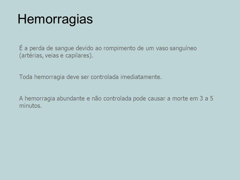 Hemorragias É a perda de sangue devido ao rompimento de um vaso sanguíneo (artérias, veias e capilares).