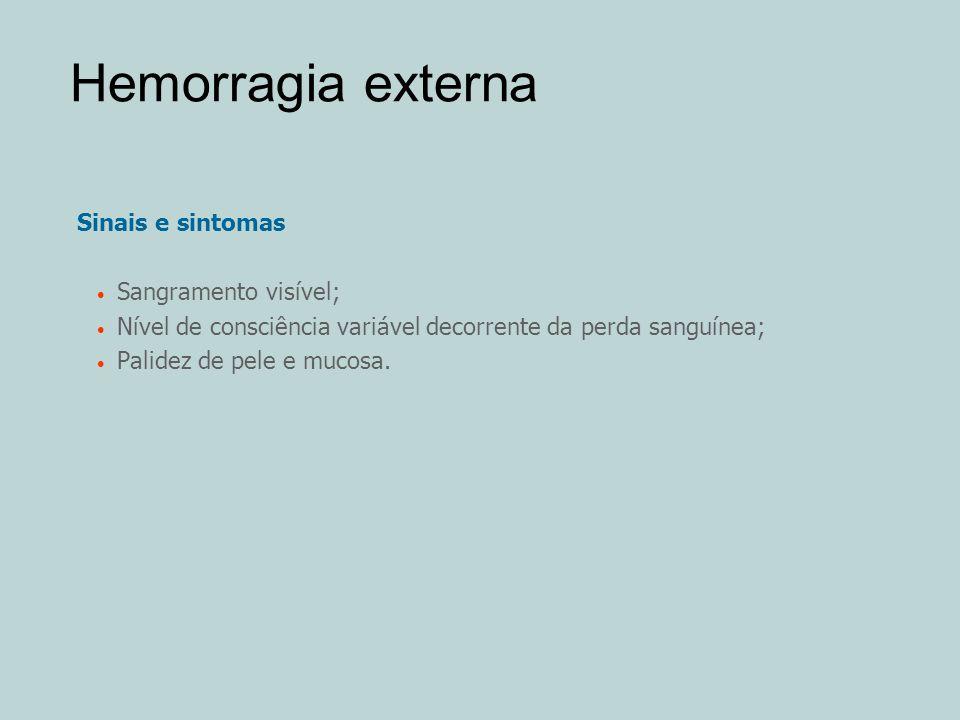 Hemorragia externa Sinais e sintomas Sangramento visível;