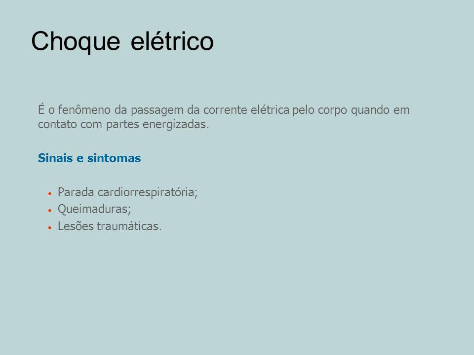 Choque elétrico É o fenômeno da passagem da corrente elétrica pelo corpo quando em contato com partes energizadas.