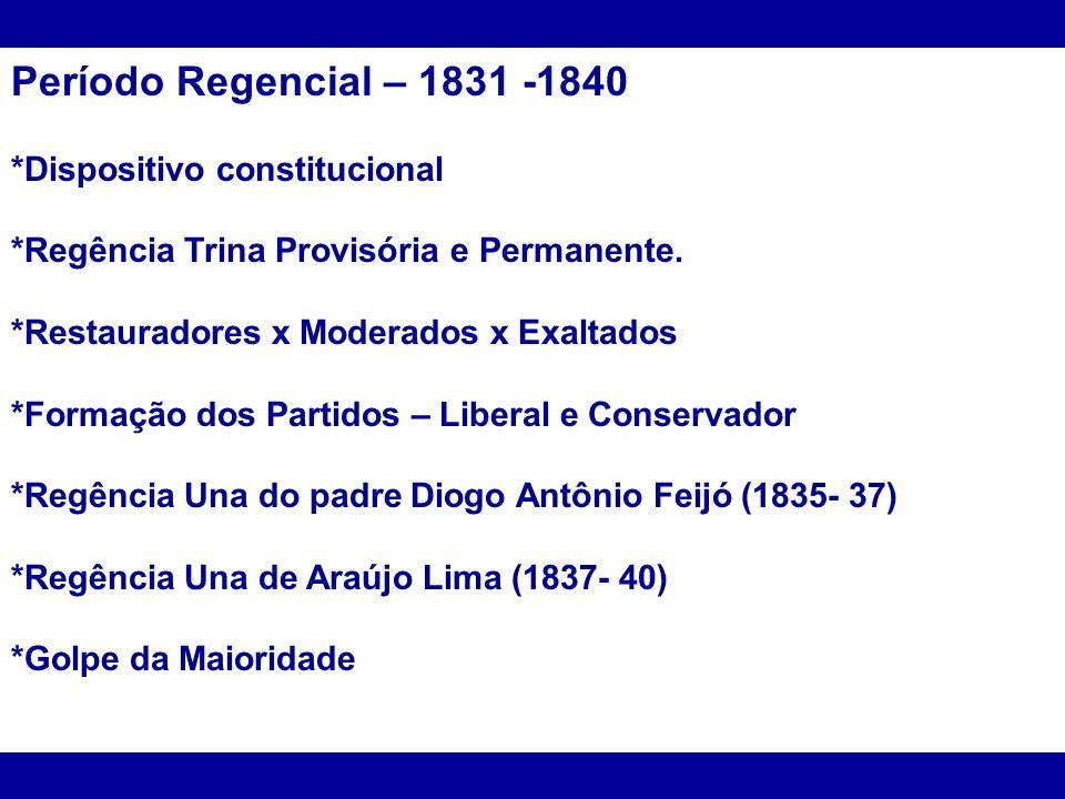 Período Regencial – 1831 -1840 *Dispositivo constitucional