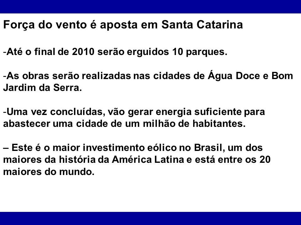 Força do vento é aposta em Santa Catarina
