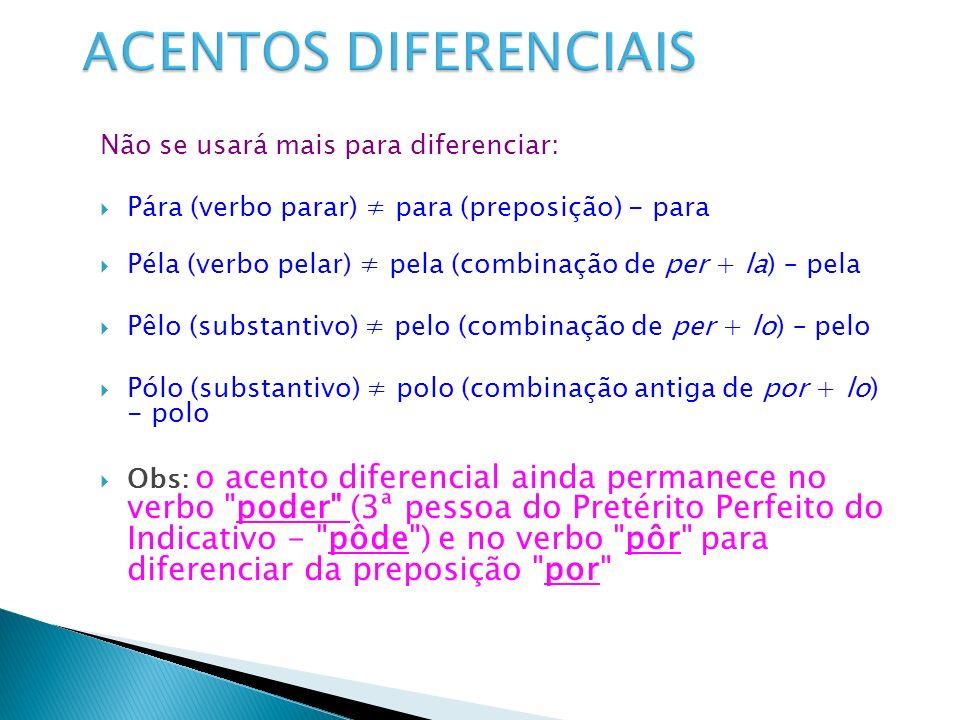 ACENTOS DIFERENCIAIS Não se usará mais para diferenciar: