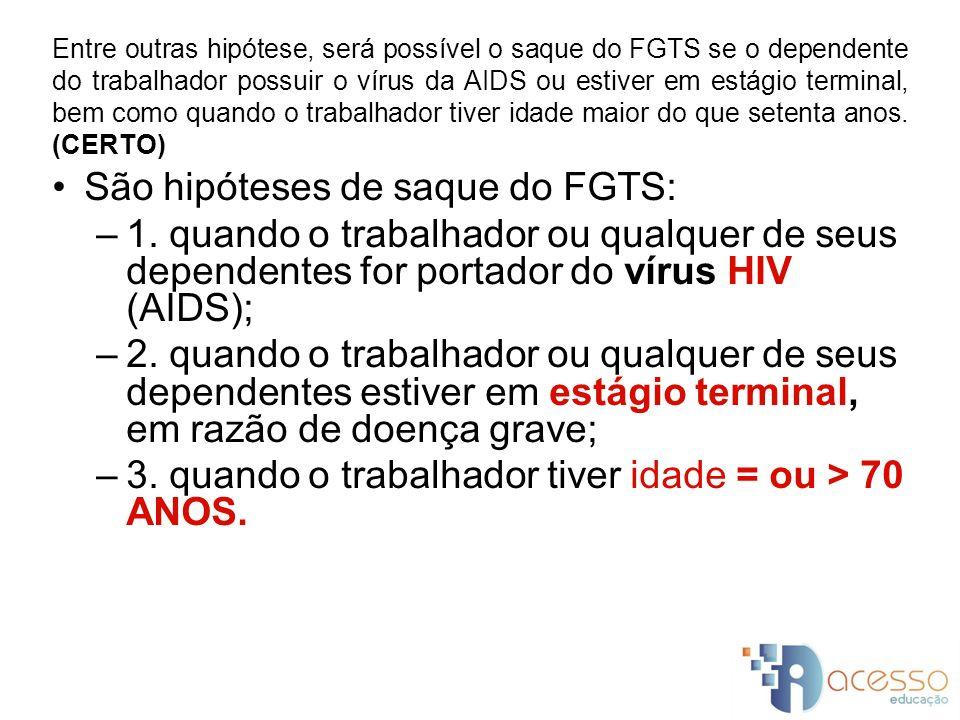 São hipóteses de saque do FGTS: