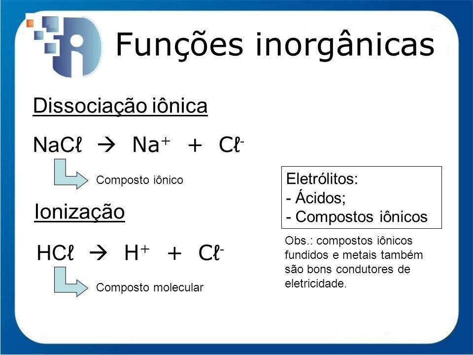 Funções inorgânicas Dissociação iônica NaCℓ  Na+ + Cℓ- Ionização