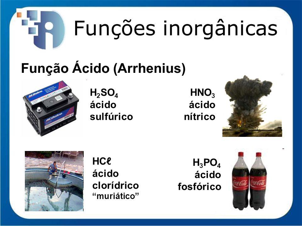 Funções inorgânicas Função Ácido (Arrhenius) H2SO4 ácido sulfúrico