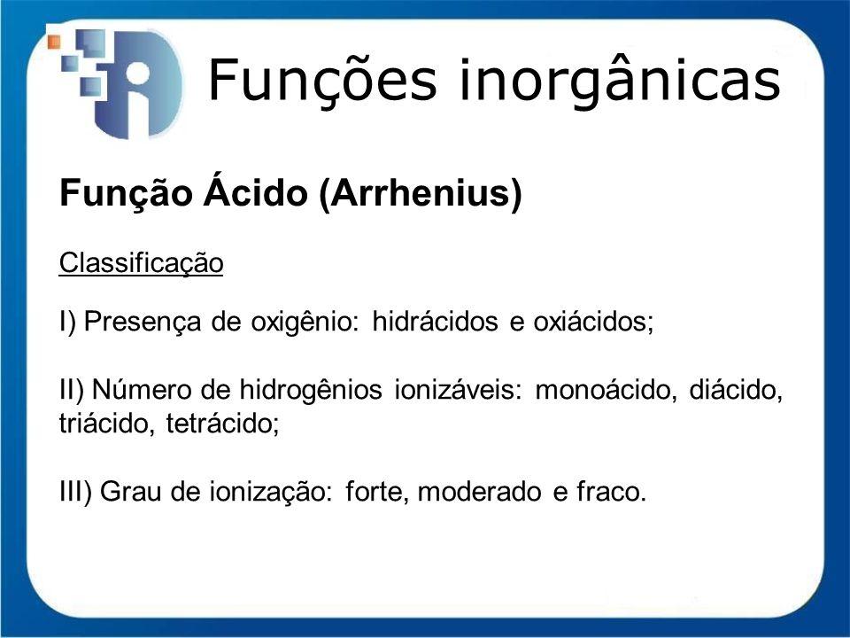 Funções inorgânicas Função Ácido (Arrhenius) Classificação