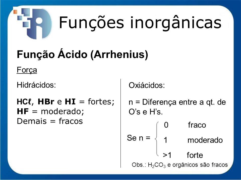 Funções inorgânicas Função Ácido (Arrhenius) Força Hidrácidos:
