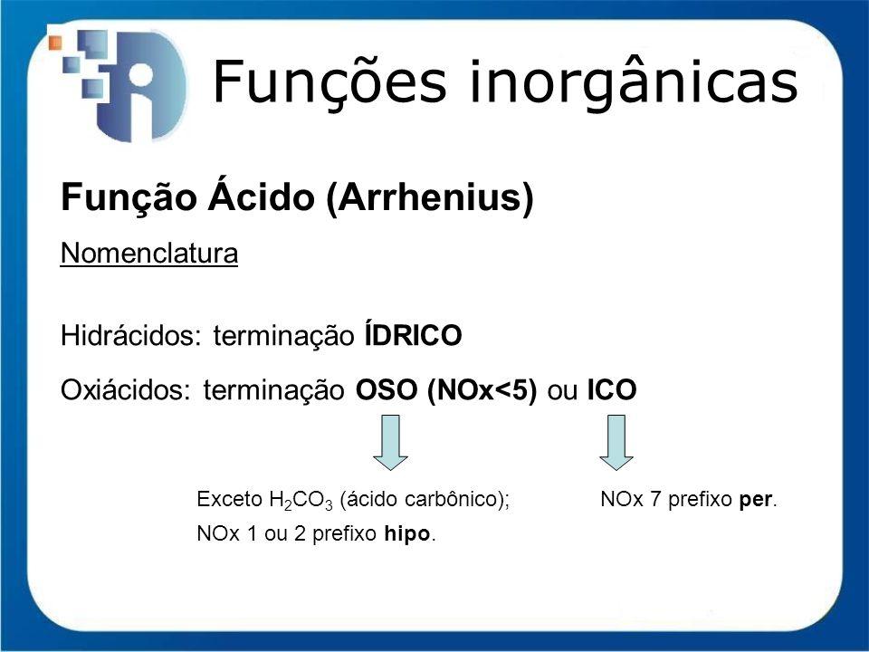 Funções inorgânicas Função Ácido (Arrhenius) Nomenclatura