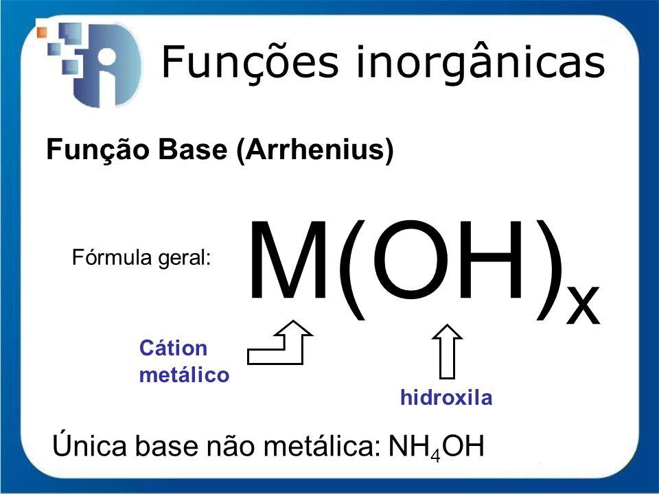 M(OH)x Funções inorgânicas Função Base (Arrhenius)