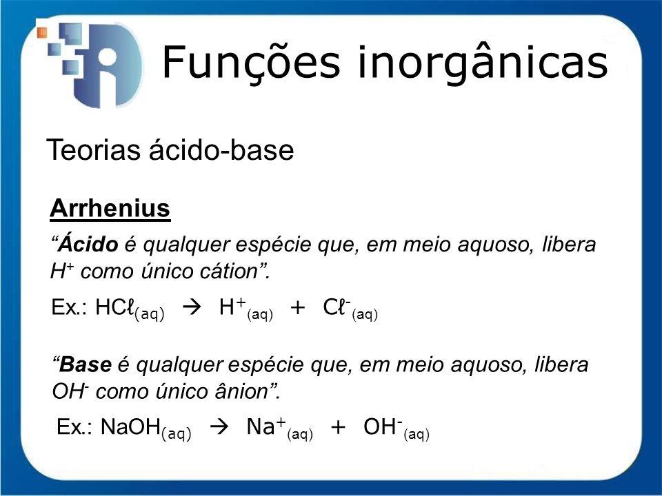 Funções inorgânicas Teorias ácido-base Arrhenius