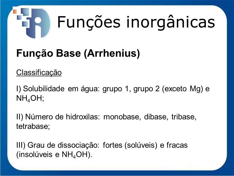 Funções inorgânicas Função Base (Arrhenius) Classificação