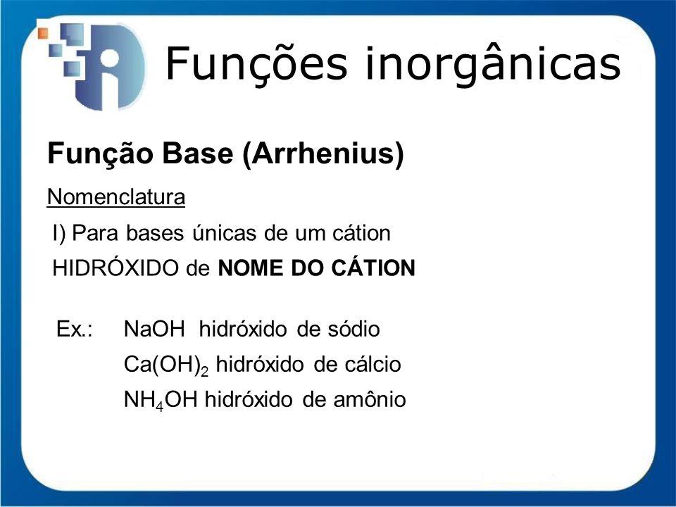 Funções inorgânicas Função Base (Arrhenius) Nomenclatura