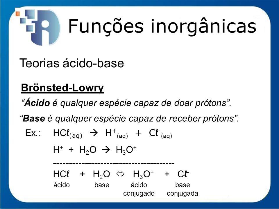 Funções inorgânicas Teorias ácido-base Brönsted-Lowry