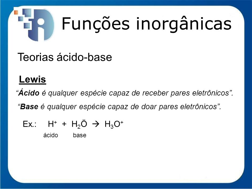Funções inorgânicas Teorias ácido-base Lewis Ex.: H+ + H2Ö  H3O+