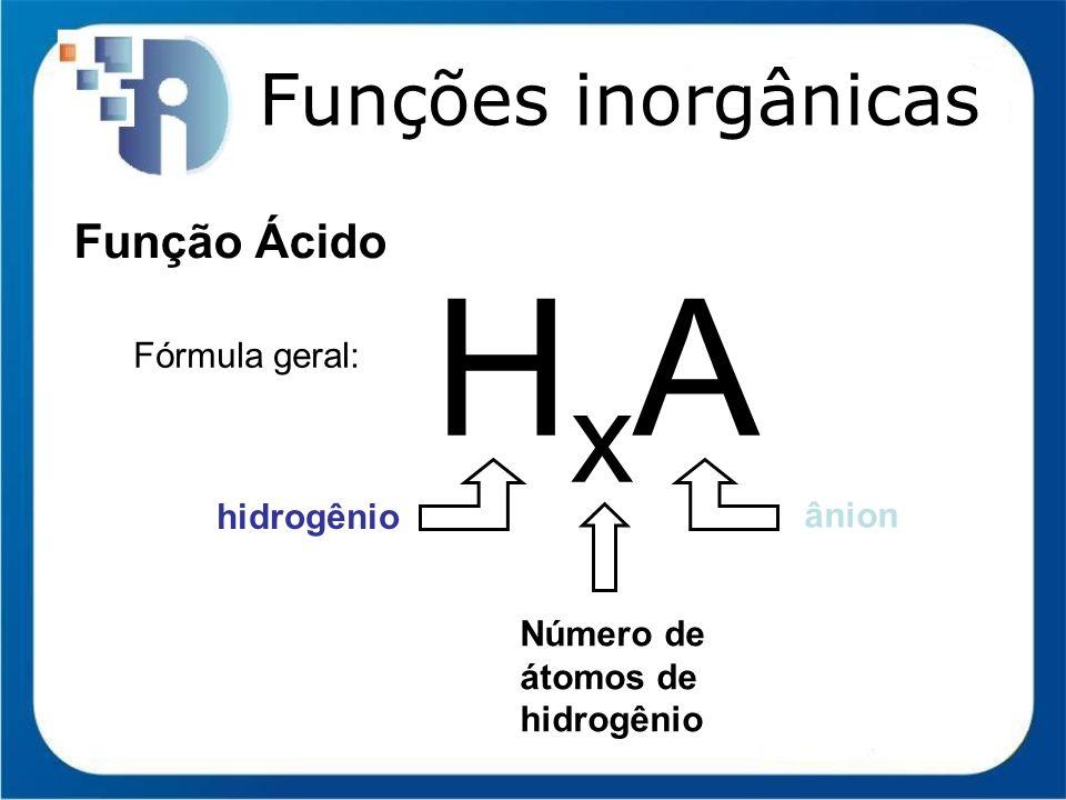 HxA Funções inorgânicas Função Ácido Fórmula geral: hidrogênio ânion