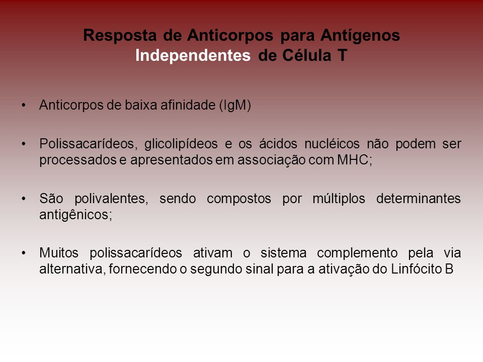 Resposta de Anticorpos para Antígenos Independentes de Célula T