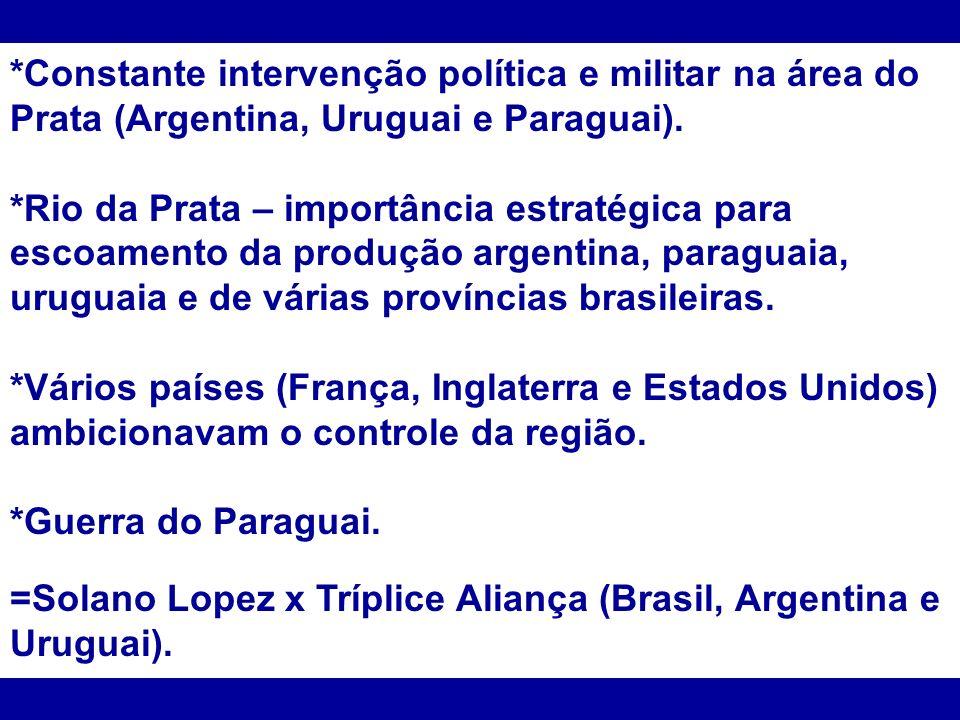 *Constante intervenção política e militar na área do Prata (Argentina, Uruguai e Paraguai).