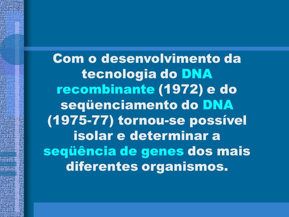 Com o desenvolvimento da tecnologia do DNA recombinante (1972) e do seqüenciamento do DNA (1975-77) tornou-se possível isolar e determinar a seqüência de genes dos mais diferentes organismos.