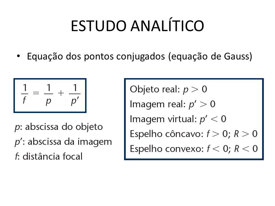 ESTUDO ANALÍTICO Equação dos pontos conjugados (equação de Gauss)