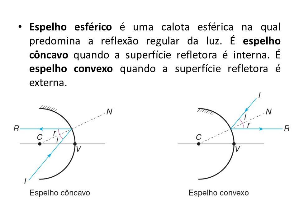 Espelho esférico é uma calota esférica na qual predomina a reflexão regular da luz.