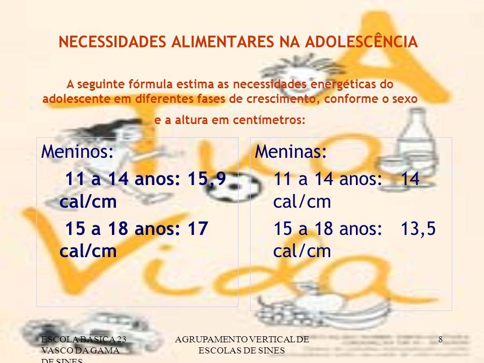 NECESSIDADES ALIMENTARES NA ADOLESCÊNCIA