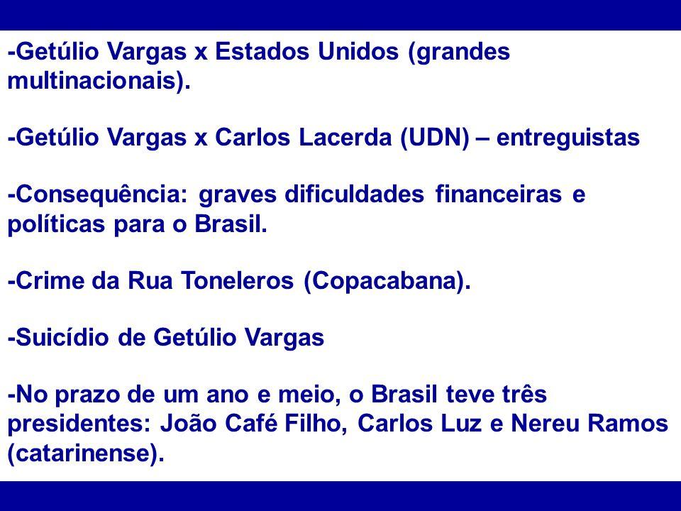 -Getúlio Vargas x Estados Unidos (grandes multinacionais).