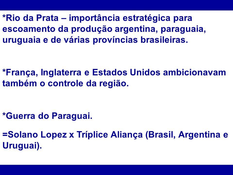 *Rio da Prata – importância estratégica para escoamento da produção argentina, paraguaia, uruguaia e de várias províncias brasileiras.