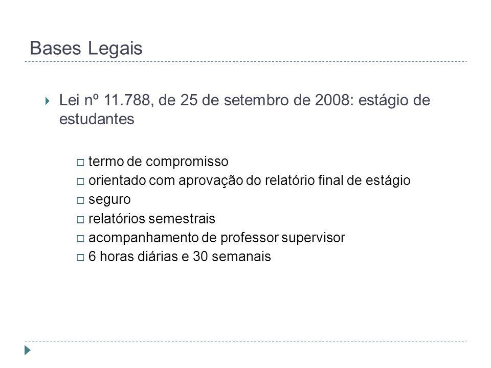 Bases Legais Lei nº 11.788, de 25 de setembro de 2008: estágio de estudantes. termo de compromisso.