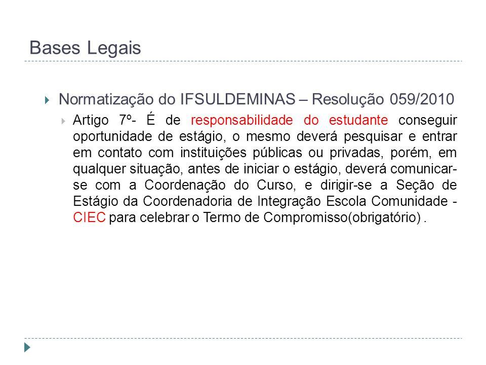 Bases Legais Normatização do IFSULDEMINAS – Resolução 059/2010
