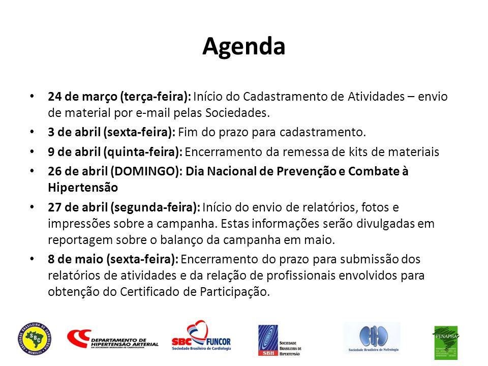 Agenda 24 de março (terça-feira): Início do Cadastramento de Atividades – envio de material por e-mail pelas Sociedades.