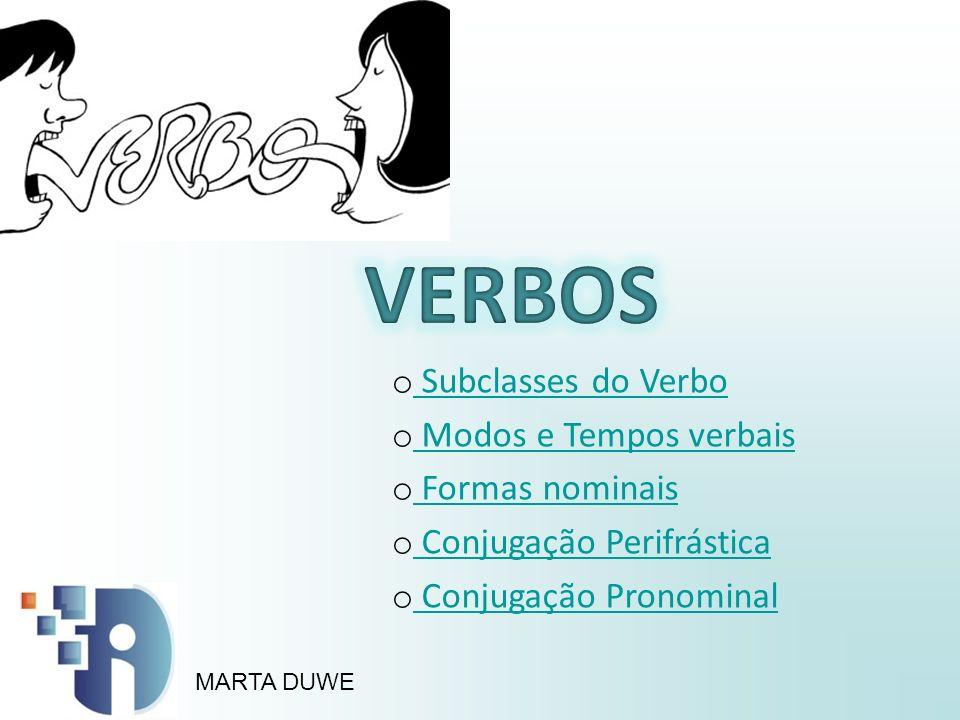 VERBOS Subclasses do Verbo Modos e Tempos verbais Formas nominais