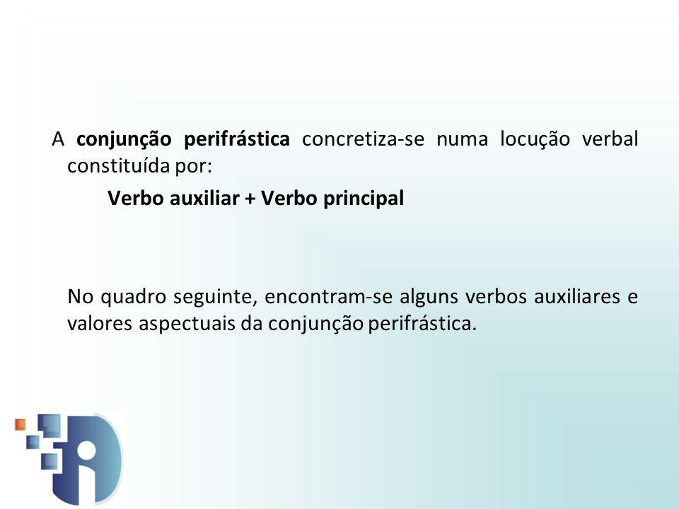 A conjunção perifrástica concretiza-se numa locução verbal constituída por: