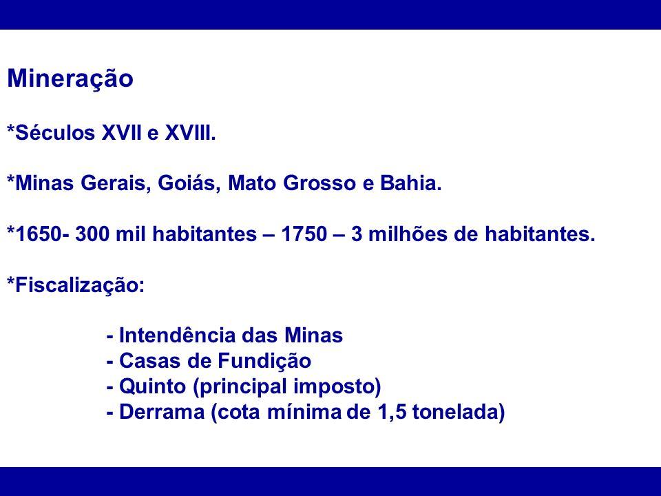 Mineração *Séculos XVII e XVIII.