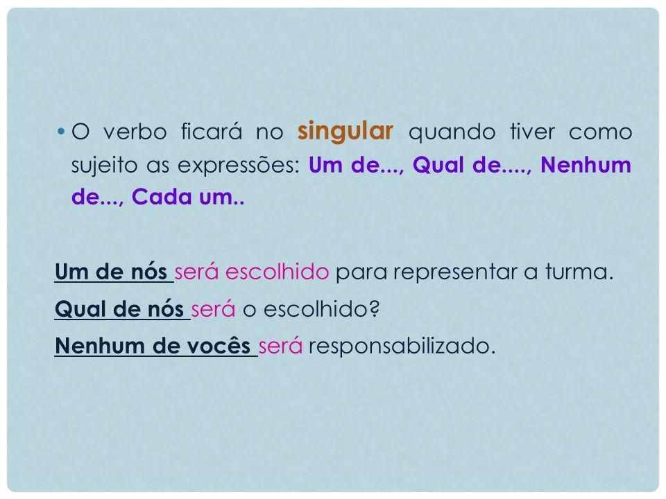 O verbo ficará no singular quando tiver como sujeito as expressões: Um de..., Qual de...., Nenhum de..., Cada um..