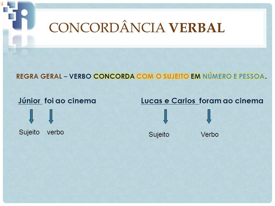 CONCORDÂNCIA VERBAL REGRA GERAL – VERBO CONCORDA COM O SUJEITO EM NÚMERO E PESSOA.