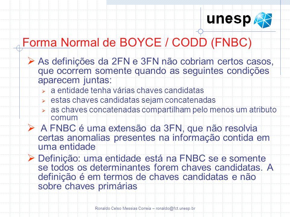 Forma Normal de BOYCE / CODD (FNBC)