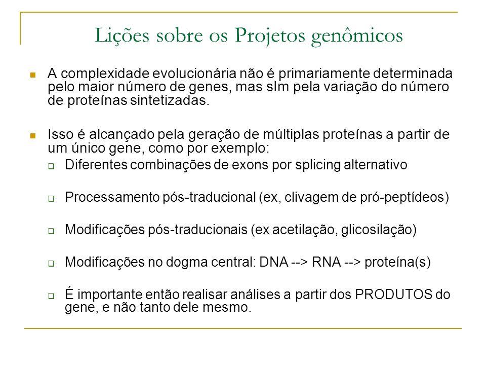 Lições sobre os Projetos genômicos