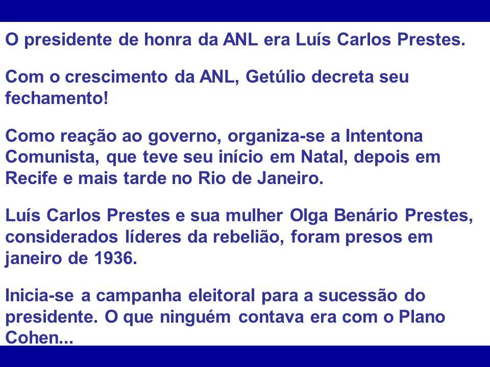 O presidente de honra da ANL era Luís Carlos Prestes.