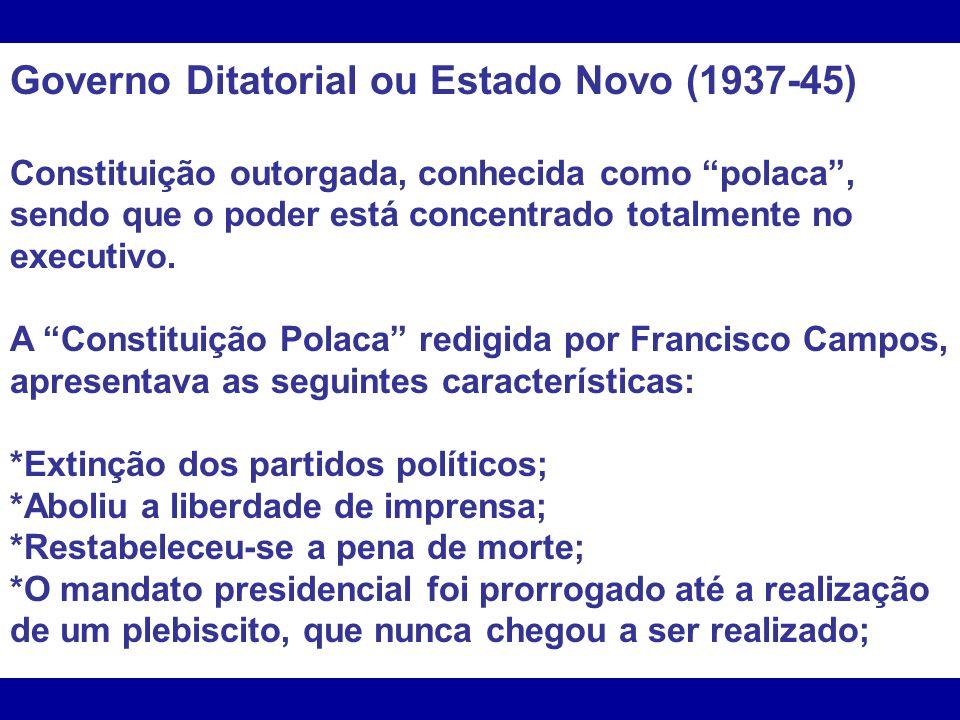 Governo Ditatorial ou Estado Novo (1937-45)