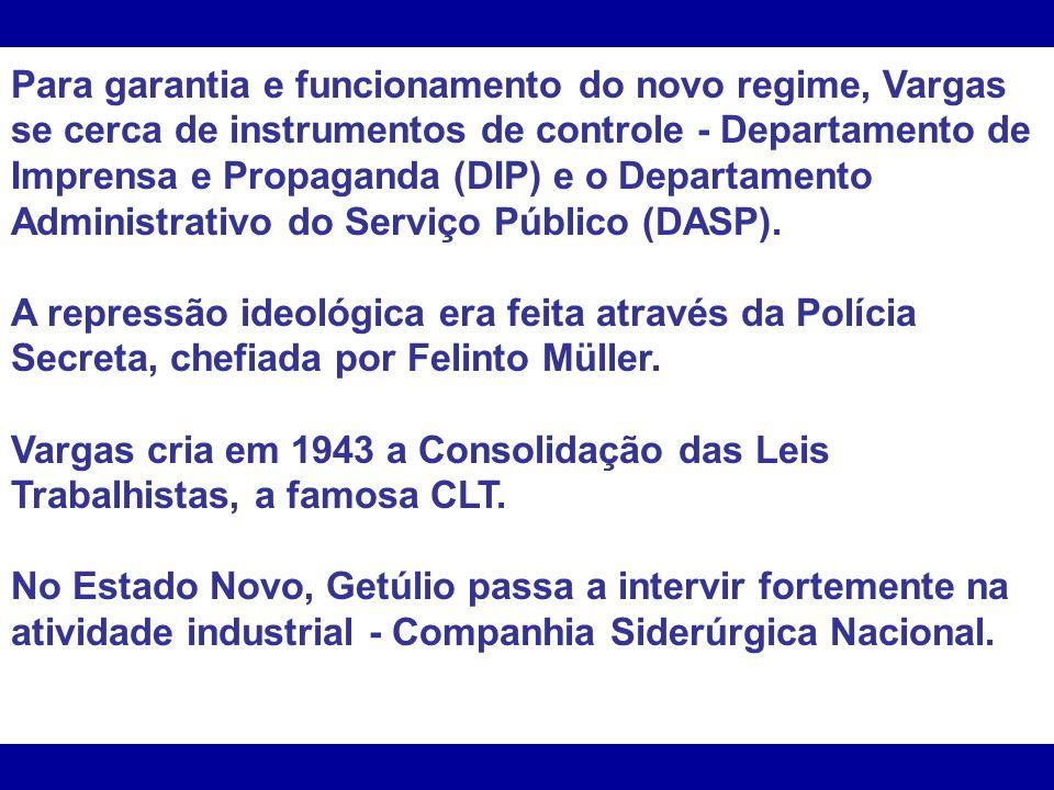 Para garantia e funcionamento do novo regime, Vargas se cerca de instrumentos de controle - Departamento de Imprensa e Propaganda (DIP) e o Departamento Administrativo do Serviço Público (DASP).