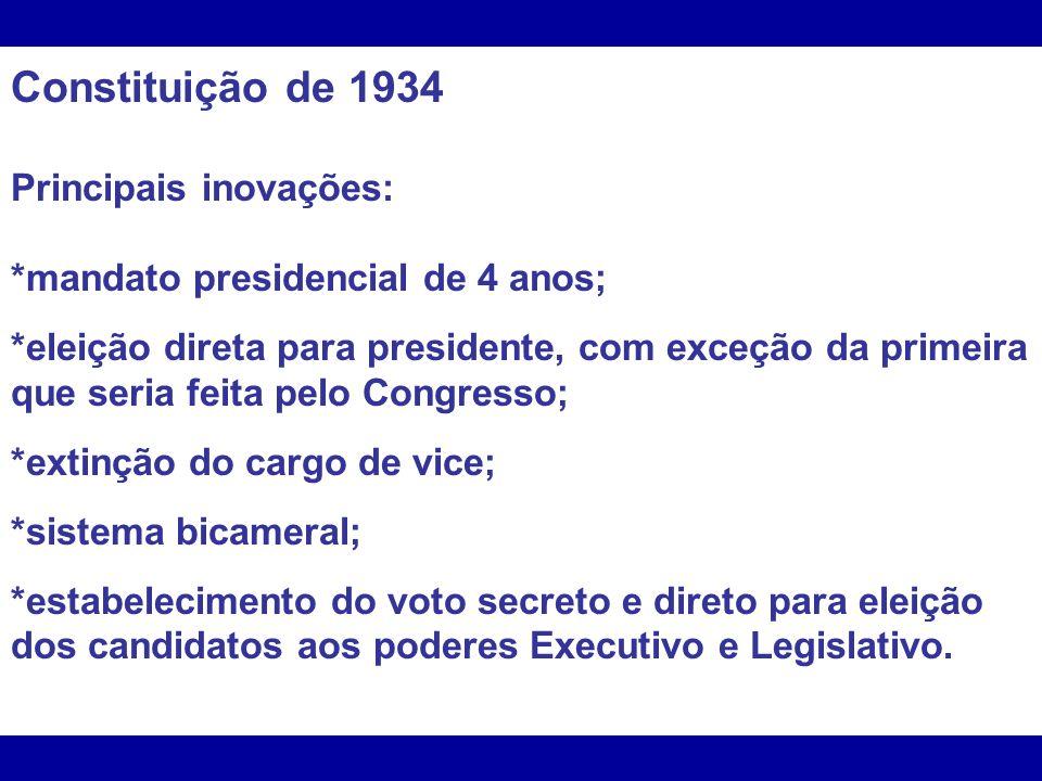 Constituição de 1934 Principais inovações:
