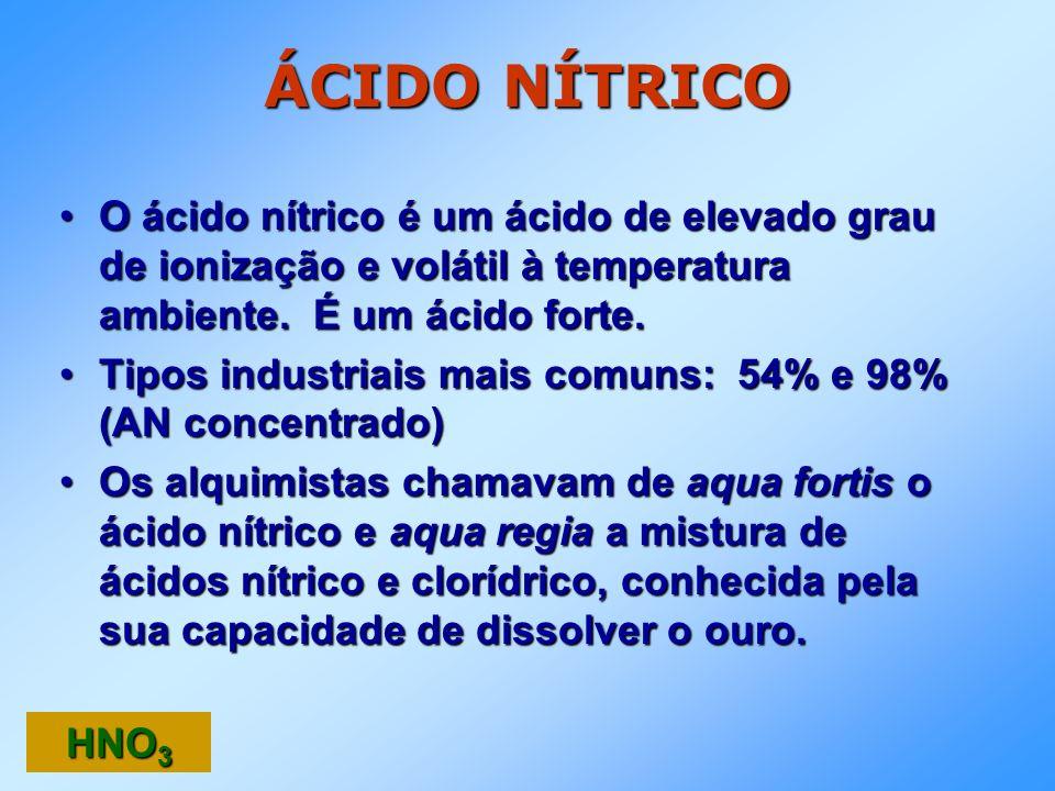 ÁCIDO NÍTRICO O ácido nítrico é um ácido de elevado grau de ionização e volátil à temperatura ambiente. É um ácido forte.
